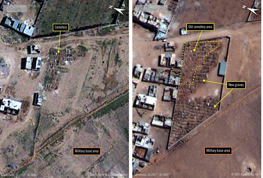 Uydu görüntüleri Şam yakınlarındaki bir mezarlıktaki, 2010 (Sol) ile 2016 (Sağ) toplu mezarlardaki artışı gösteriyor. Uluslararası Af Örgütü, Sednaya Hapishanesi'nde infaz edilen mahkûmların buraya gömüldüğünü ifade ediyor. (Görseller: Uluslararası Af Örgütü Agence France-Presse vasıtası ile. — Getty Images)