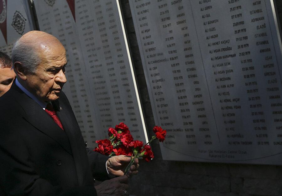 MHP Genel Başkanı Devlet Bahçeli, Kızılcahamam ilçesinde bulunan Ülkücü Şehitler Anıtı'nı ziyaret etti.