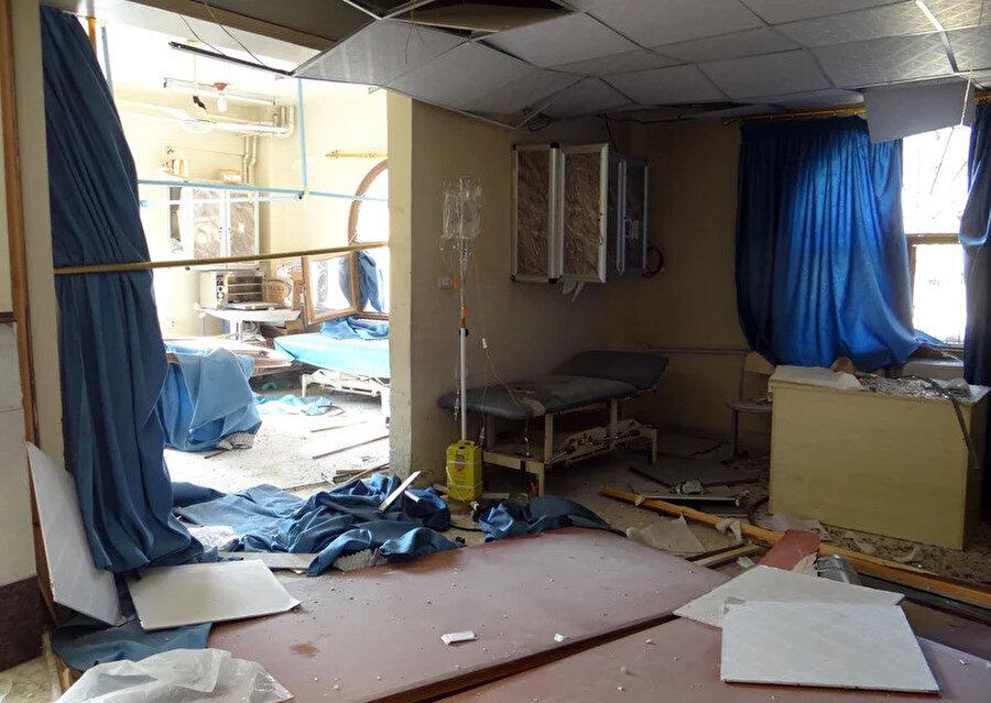 Etarib bölgesinde saldırıya uğrayan bir hastane.
