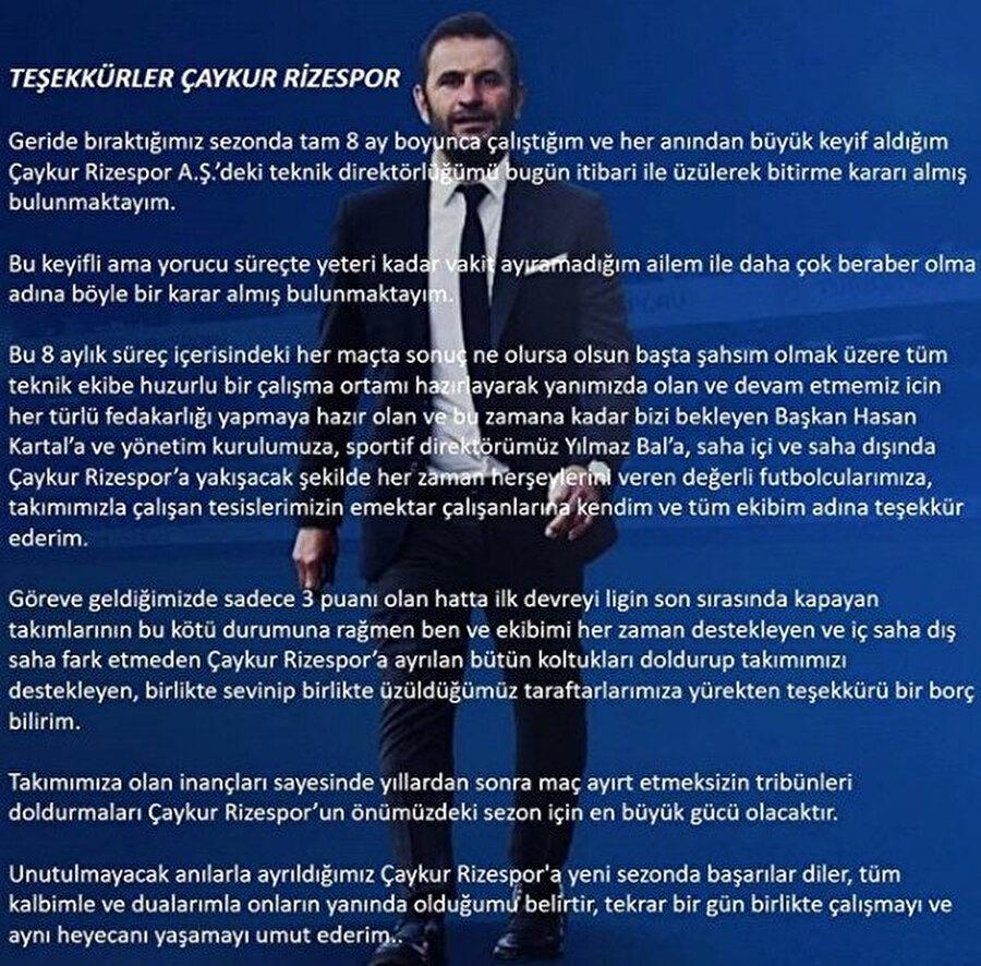Okan Buruk'un Çaykur Rizespor'a veda ettiği mesaj.