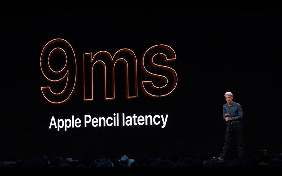 Apple Pencil da yeni işletim sisteminden nasiplendi diyebiliriz. Kalemin tepki süresi 20 milisaniyeden 9 milisaniyeye düşürüldü.