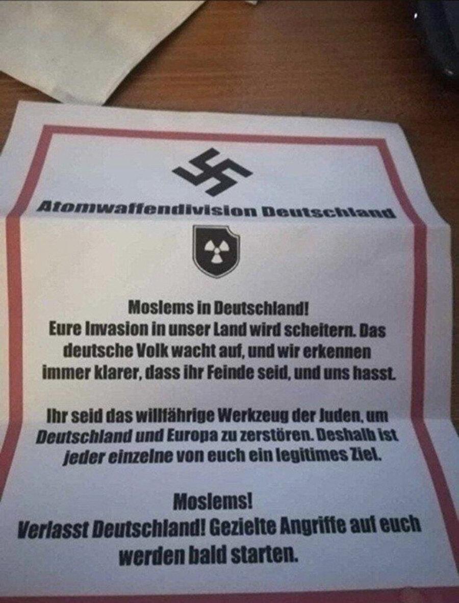 Almanya'da Türklerin yaşadığı bölgede bu mektuplar dağıtıldı.