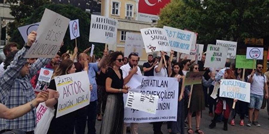 2015 yılında Bakırköy Belediyesi tarafından işten çıkarılan oyuncuların yaptığı eylemden bir kare