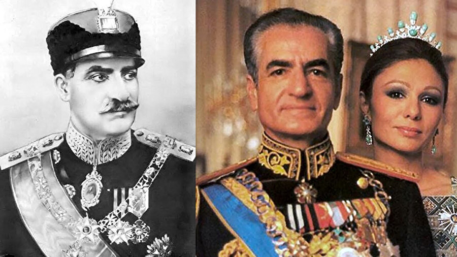 Soldaki fotoğraf Şah Rıza (1878–1944) sağda Muhammed Rıza Pehlevi ve karısı Farah Diba, 16 Ocak 1979.