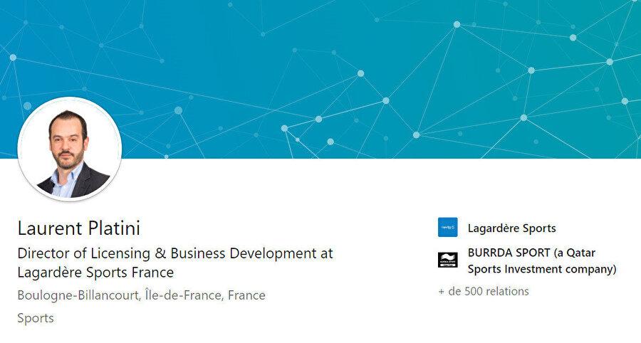 Laurent Platini'nin Linkedin hesabı.