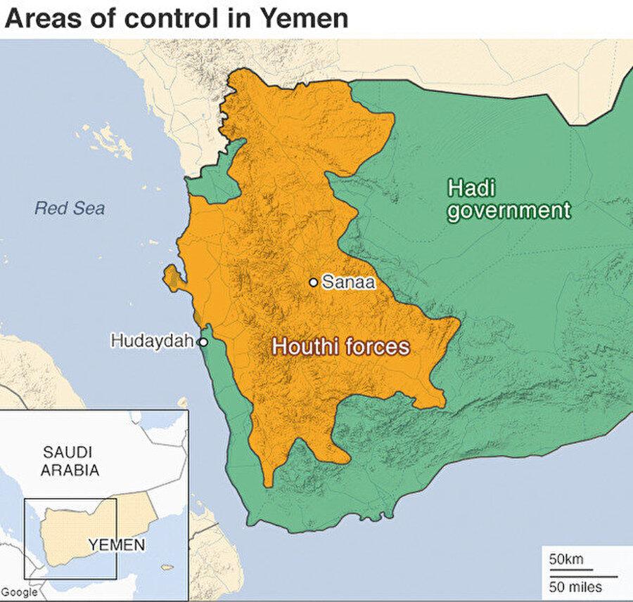 Haritada sarıyla işaretlenen alan Husilerin, yeşille işaretlenen kısım ise hükümetin kontrolündeki bölgeyi gösteriyor.