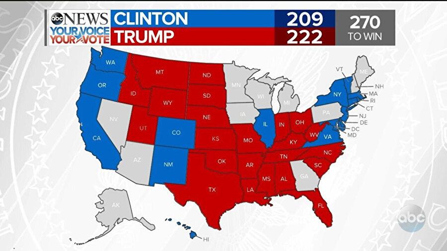 ABD 2016 Başkanlık seçim sonuçları