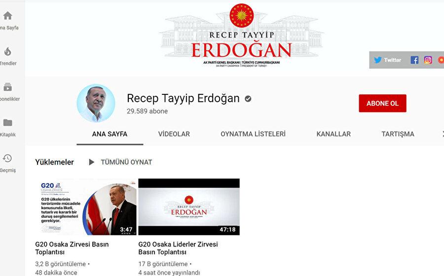 Cumhurbaşkanı Recep Tayyip Erdoğan'ın YouTube kanalı