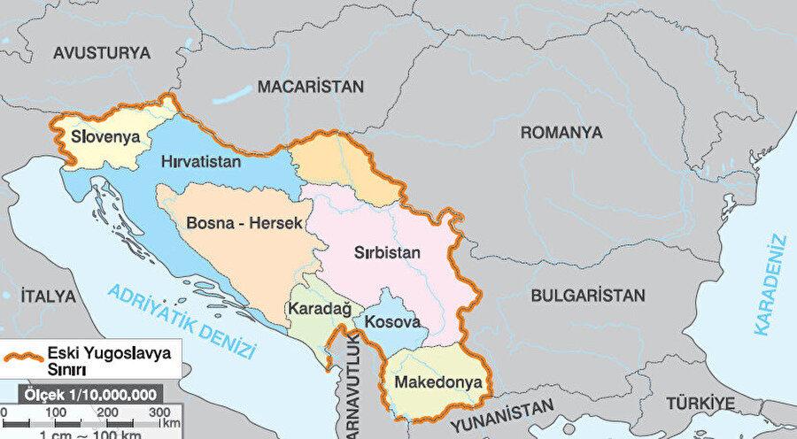 Eski Yugoslavya sınırı ve yıkılmasının ardından kurulan devletler.