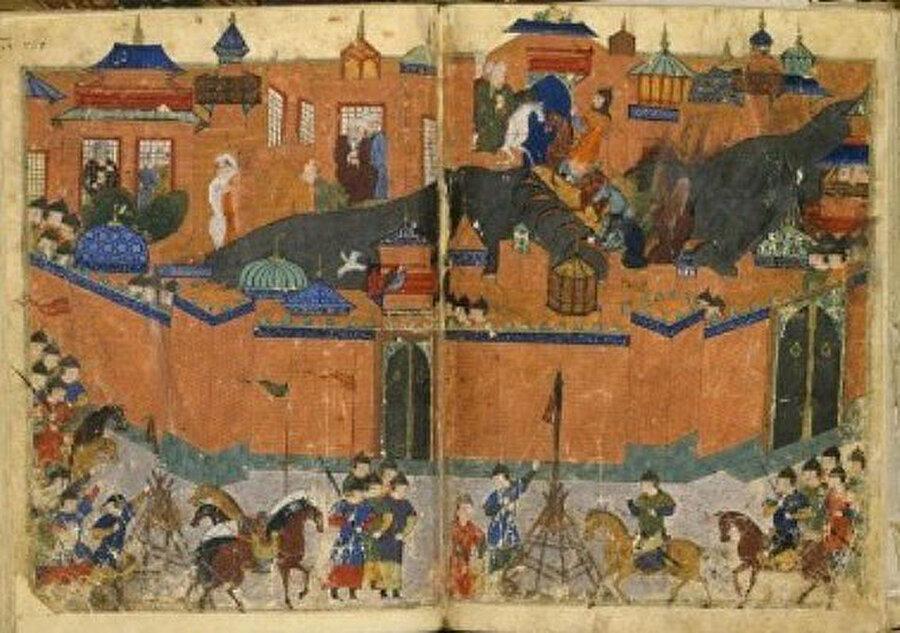 1258'de Moğolların Bağdat'ı işgalini tasvir eden bir minyatür.