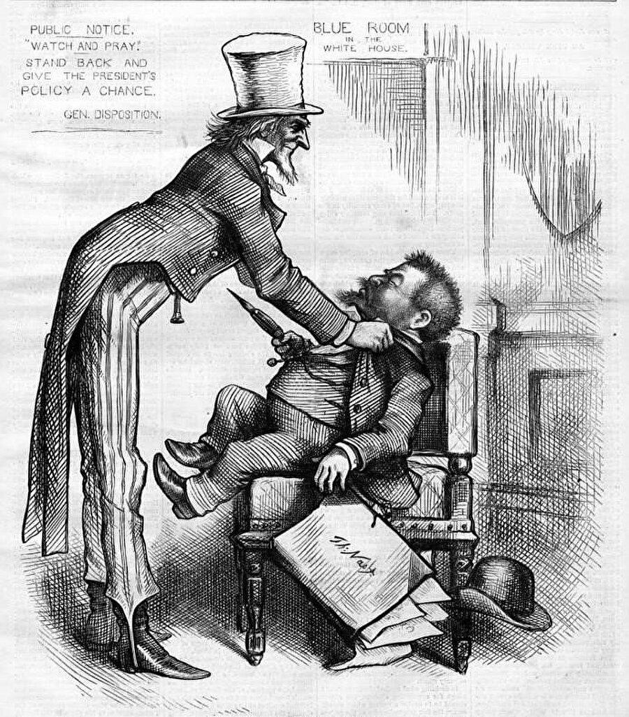 Thomas Nass'ın ''Sam Amca''yı anlatan karikatürlerinden biri: İzle ve itaat et, arkana yaslan ve başkanın politikasına bir şans ver.