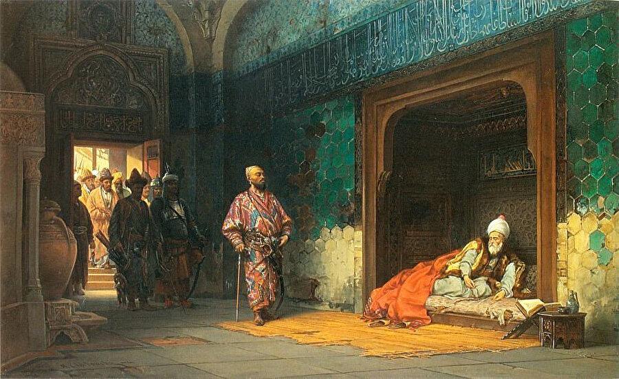 Timur tarafından hapsedilen I. Bayezid. Çizeri; Stanisław Chlebowski, 1878.