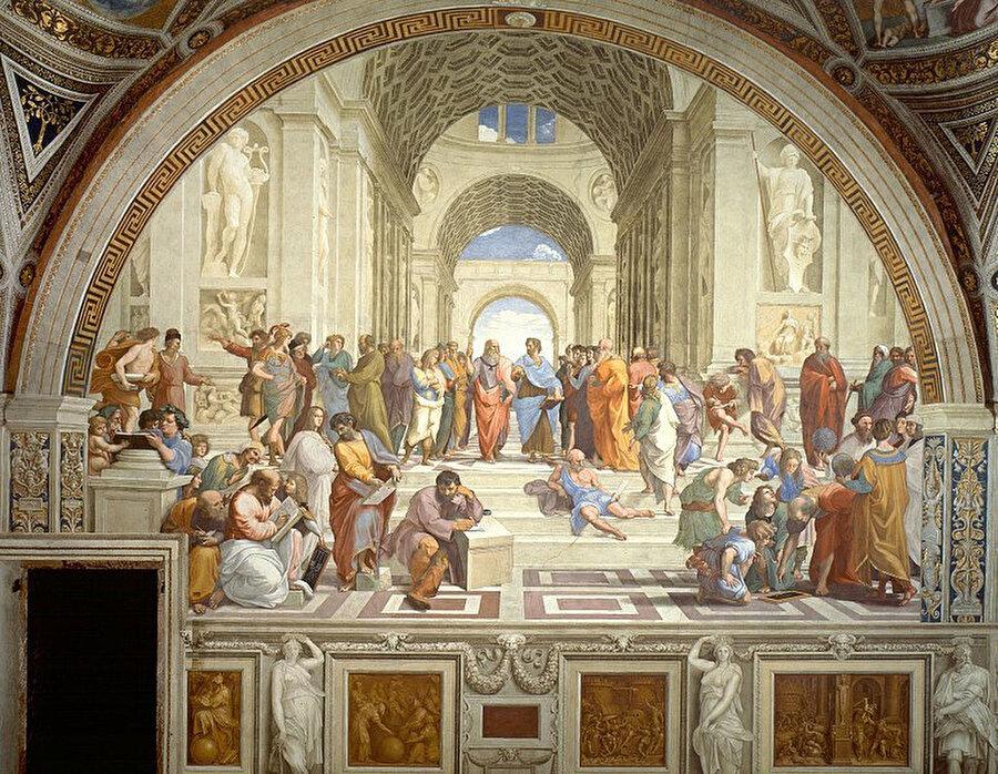 """""""The School of Athens"""" """"Atina Okulu"""" Raffaello Sanzio da Urbino tarafından (1509–1511) yılları arasında çizilmiş bir Rönesans eseri."""