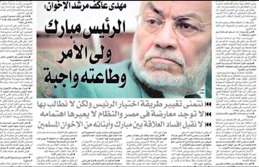 Âkif'in, Hüsnü Mübarek'e itaat etmek gerektiğine dair, Mısır basınında yer alan bir açıklaması.