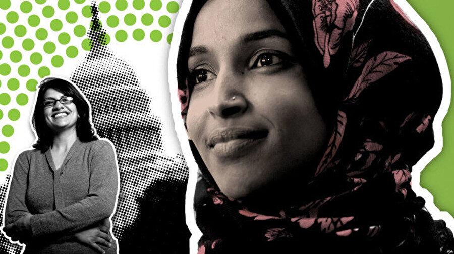 ABD'de Michigan ve Minnesota eyaletlerinden seçimlere katılan Filistin asıllı Rashida Tlaib(solda) ve Somali asıllı Ilhan Omar (sağda), yarışı kazanarak 'Temsilciler Meclisine giren ilk Müslüman kadın üyeler' olmayı başarmıştı.