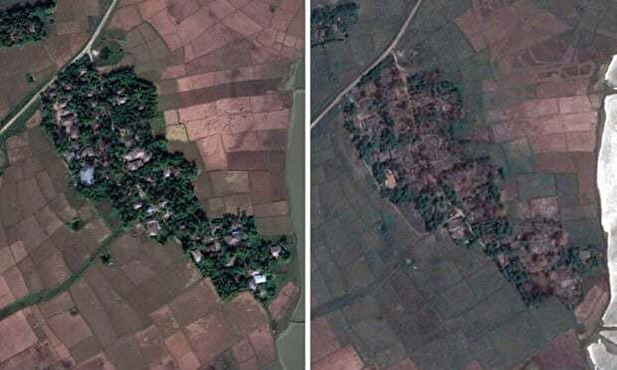 Solda, Myanmar'daki Mav köyünün 2017'deki uydu fotoğrafı, sağda ise köyün 2018'de çekilen fotoğrafı var. İkinci fotoğrafta yıkım açıkça görülebiliyor.
