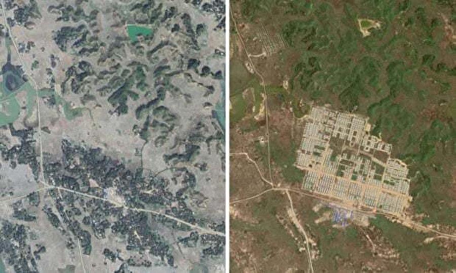 Sağ taraftaki fotoğrafta, solda yıkılan köyün yerine geri dönen mülteciler için inşa edilen tesis görülüyor.