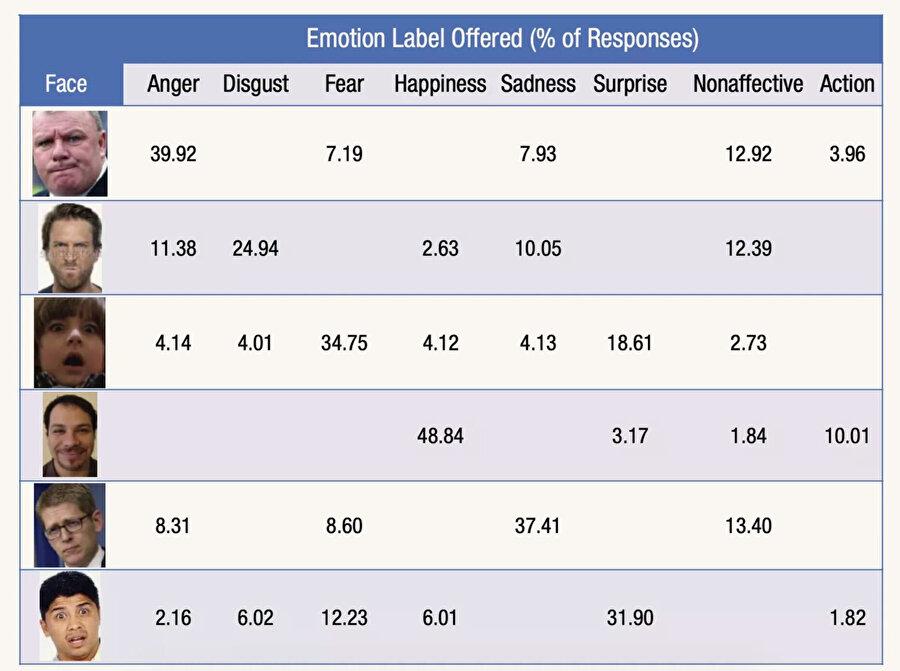 Listeden de görülebildiği gibi surat ifadelerine göre duygu durumları analizi çok fazla değişkenlik gösterebiliyor.