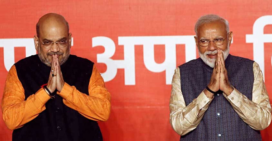 Hindistan Halk Partisi (BJP) başkanı Amit Şah, Hindistan Başbakanı Modi ile birlikte.