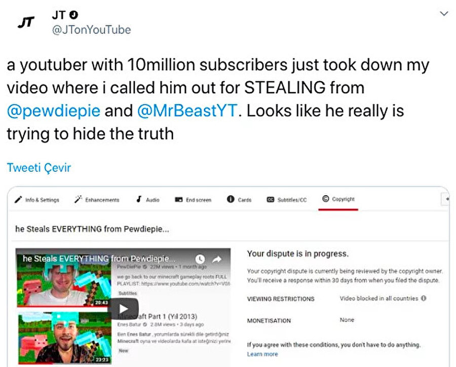 JTonYouTube isimli hesap Enes Batur ile içeriklerini aldığını iddia ettiği hesapları karşılaştırdı