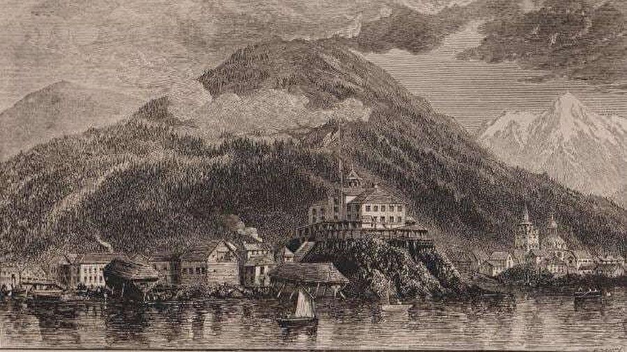 Alaska'nın Rusya'dan Amerika'ya devredildiği sırada Sitka'nın 1867 tarihli bir gazete resmi.