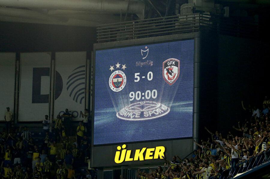 Fenerbahçe - Gazişehir maçının sonucunu gösteren skorboard.