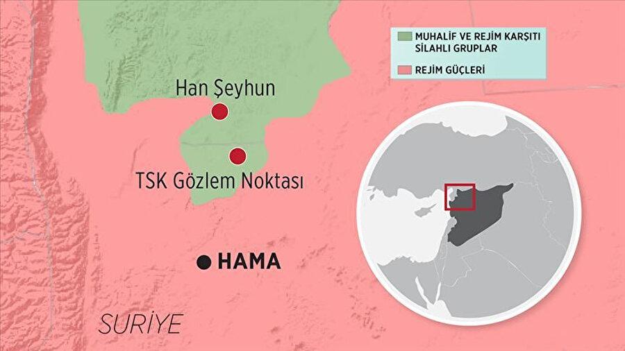 Haritada Esed rejimi ve muhaliflerin kontrol ettikleri bölgeler gösteriliyor.