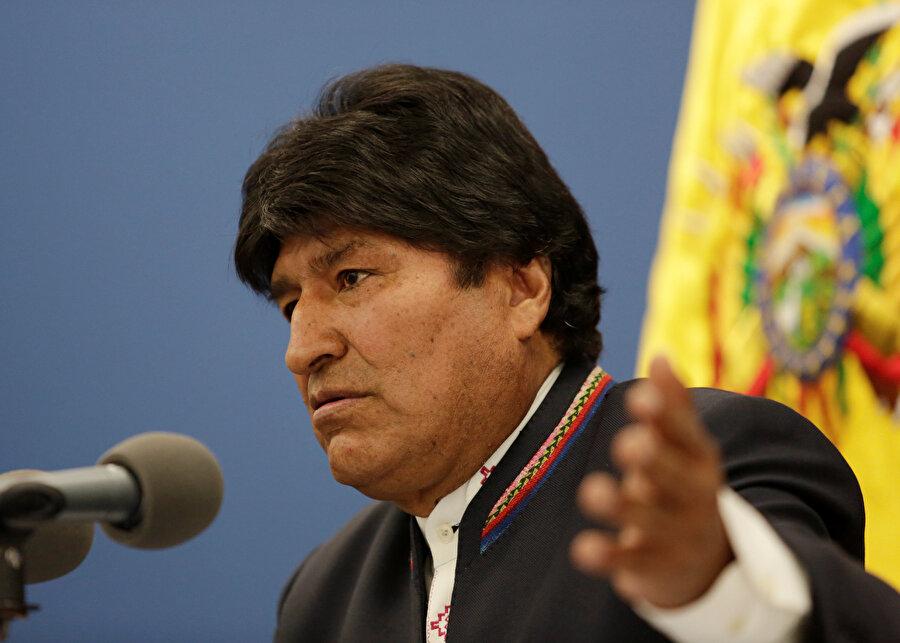 Bolivya Devlet Başkanı Evo Morales konuşma yaptığı sırada görünüyor.