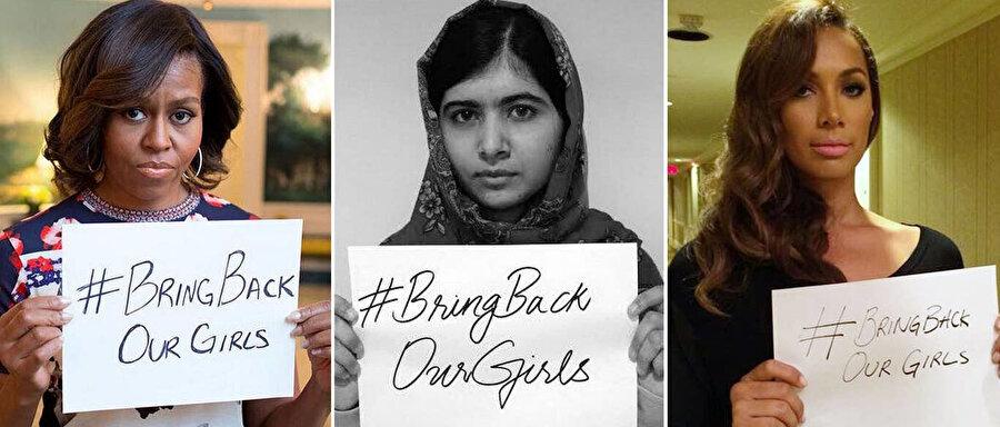 """Soldan sağa, Michelle Obama, Malala Yousafzai and Leona Lewis'in sosyal medya üzerinden yayınladığı """"#BringBackOurGirls"""" (Kızlarımızı geri getirin) kampanyasına destek mesajları."""