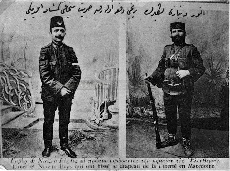Enver Bey (solda) ve Resneli Niyazi Bey. Enver Bey, II. Abdülhamid'in meşrutiyeti ilan etmesi için 12 Haziran 1908'de Selânik'in Vardar kapısından çıkarak Manastır'a doğru yönelmiştir.
