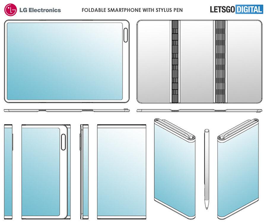 LG'nin aldığı patent üzerine tasarım haline getirilen telefon aslında çift katlamalı sistemde bir de kalem barındırıyor. Üstelik arka tarafta da alt alta dizilen üç kamera görülebiliyor.