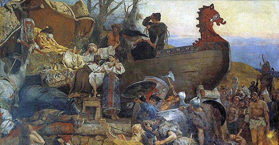 Polonyalı ressam Henryk Siemiradzki tarafından çizilen resimde, Vikinglerin Müslüman bir alim ve seyyah olan Ahmed ibni Fadlan'ın tasvirlerinden hareketle düzenlediği bir cenaze töreni görülüyor.