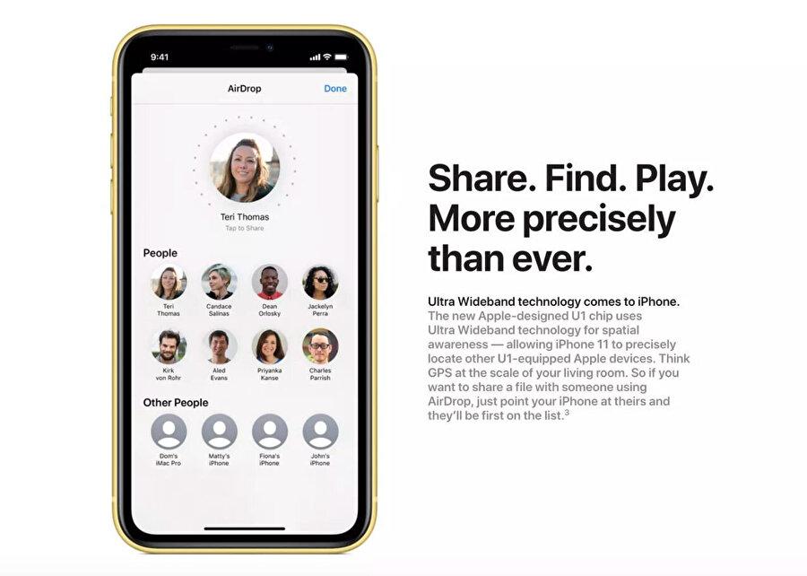 Yeni iPhone'lardaki yardımcı yonga U1, aslında temelde Apple ürünleriyle bağlantı durumunda daha hızlı ve güvenli bir veri aktarımı sağlıyor.
