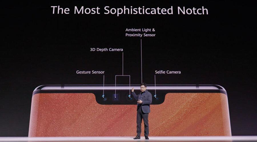 Selfie kamerası haricinde ön kısımda sensörler de yer alıyor.