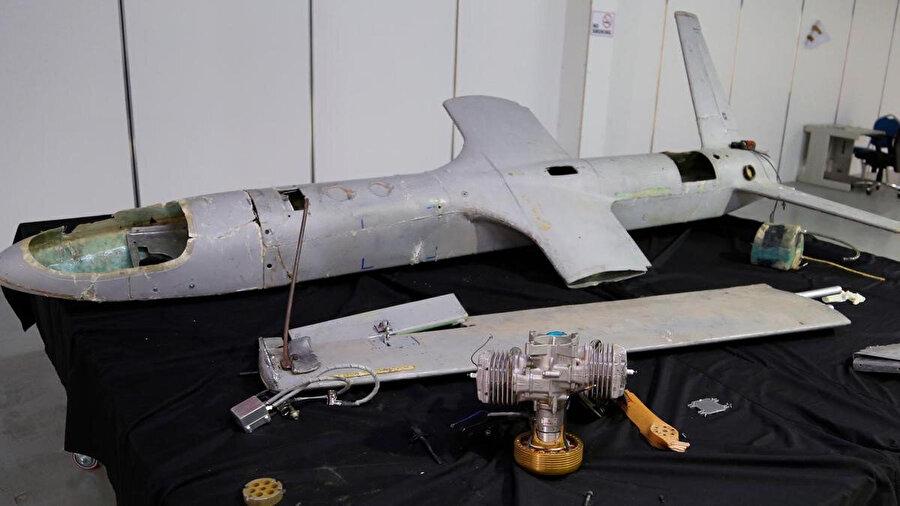 Husilerin Suudi Arabistan'a saldırıda kullandığı bir drone.