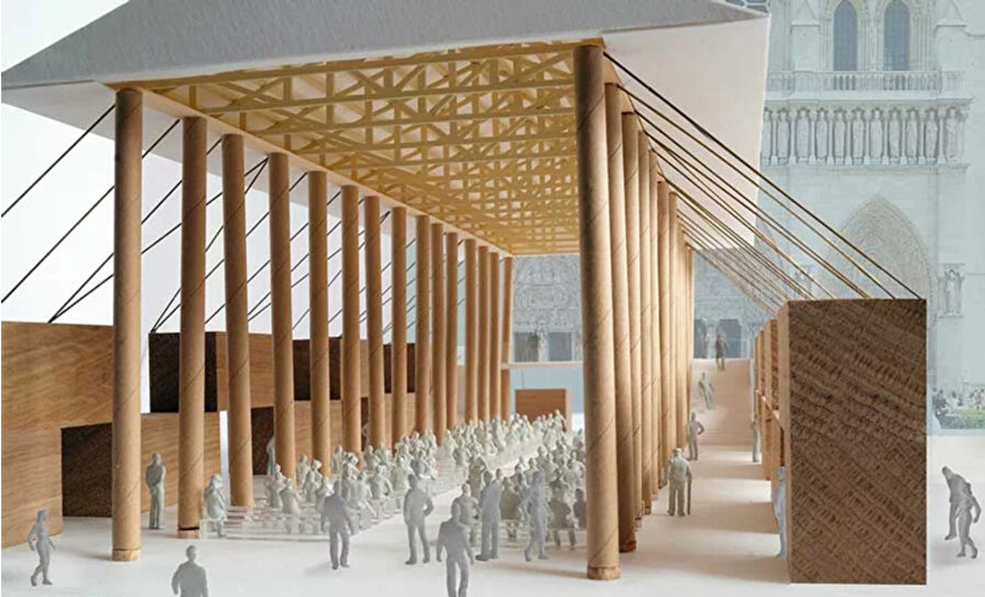 Japon mimar Shigeru Ban tarafından gerçekleştirilen tasarım çizimleri.