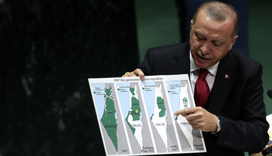Cumhurbaşkanı Erdoğan, BM'de İsrail'e tepki göstermişti.