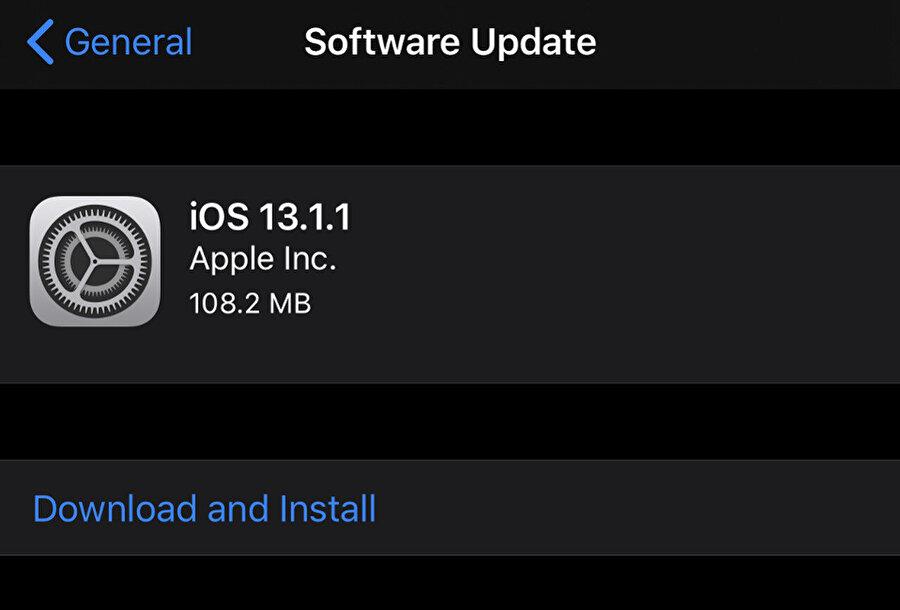 iOS 13.1.1 güncellemesini kontrol etmek için Ayarlar / Genel / Yazılım Güncelleme bölümünü izlemek yeterli.
