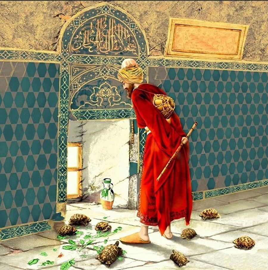 Osman Hamdi Bey'e ait bir diğer tablo: Kaplumbağa Terbiyecisi