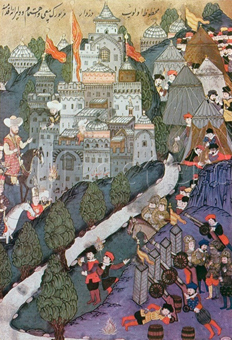 1396 yılına ait Kuşatma altındaki Niğbolu kalesi gösteren minyatür, Topkapı Sarayı, İstanbul.