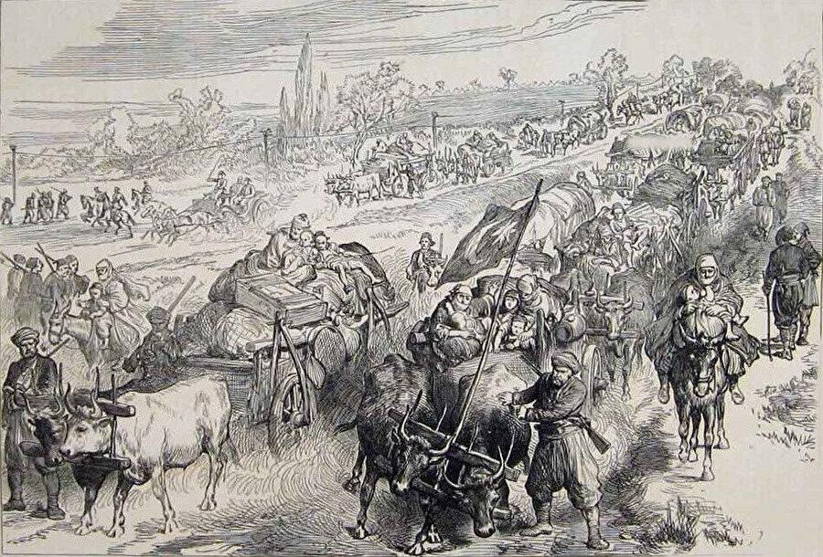 Osmanlı-Rus savaşı sonrası göç etmek zorunda kalan Müslüman Türkler.