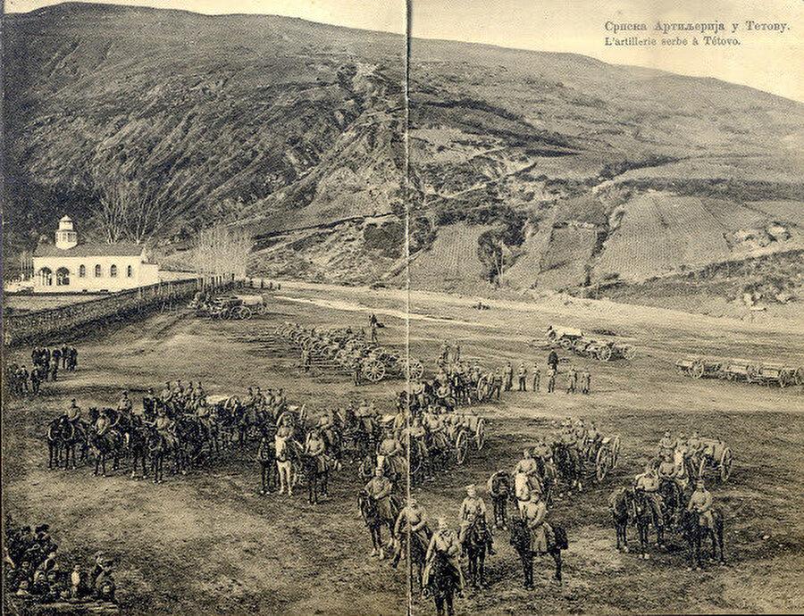 Birinci Balkan Savaşı sırasında Kalkandere'de Sırp topçusu.