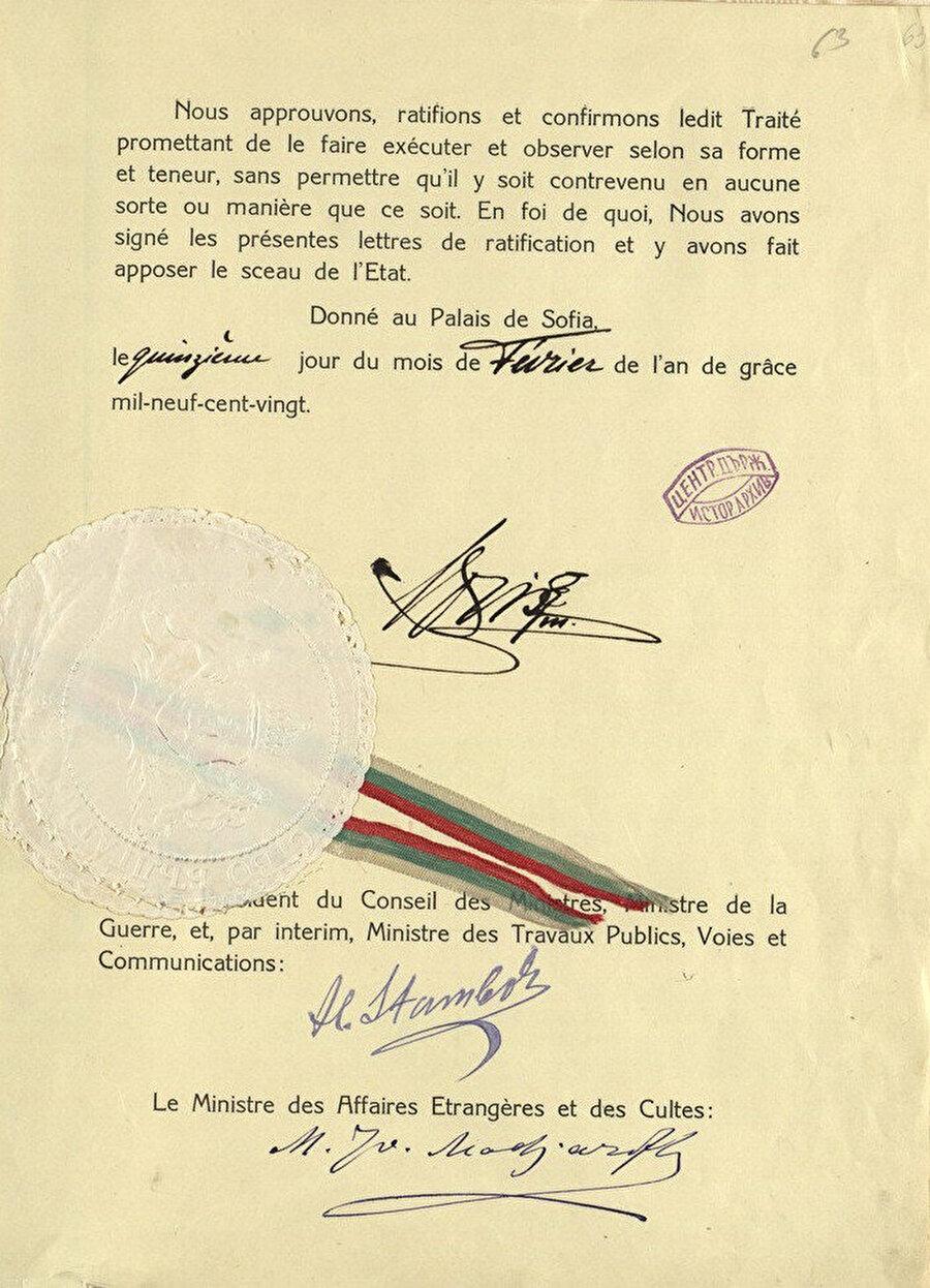 Kasım 1919'da imzalanan Neuilly Barış Antlaşması.