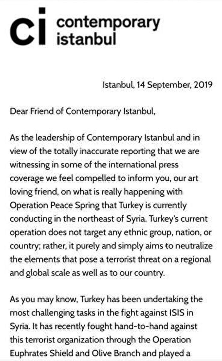 Ali Güreli'nin sanat dünyası için yazdığı mektuptan bölümler.
