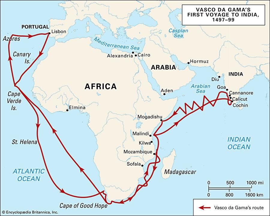 1497 – 99 yılları arasında Vasco Da Gama' nın Afrika kıtasında izlediği rota.