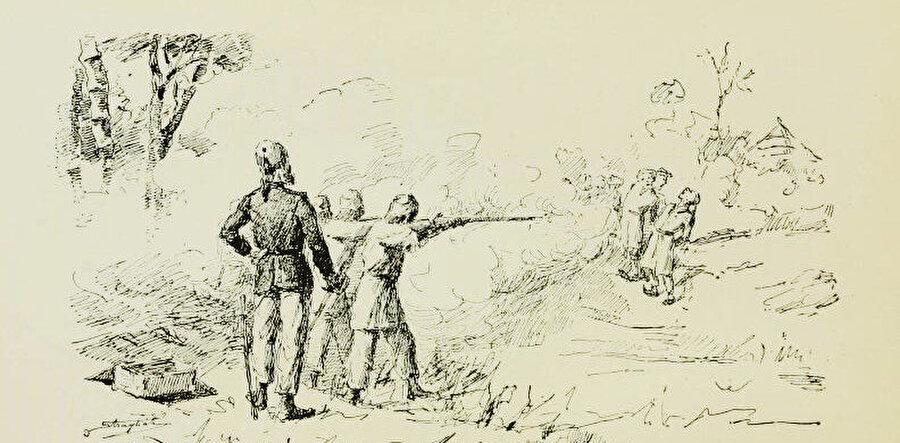 İngiliz komutan Romollo Gessi ve kurşuna dizdirdiği Sudanlı komutanlar.