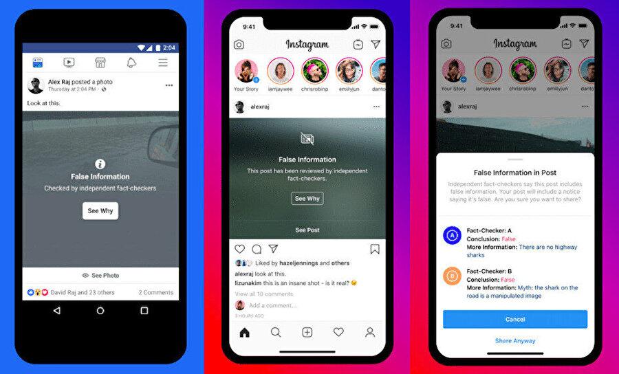 Facebook ve Instagram, sahte içerikleri doğrudan platform üzerinde işaretleyecek.