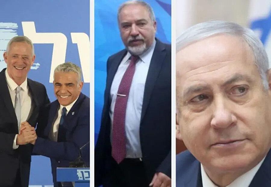 (Soldan sağa) Mavi-Beyaz İttifakının liderleri Benny Gantz ve Yair Lapid. Eski Savunma Bakanı İsrail Evimiz Partisi lideri Avigdor Liberman ve Başbakan Netanyahu.