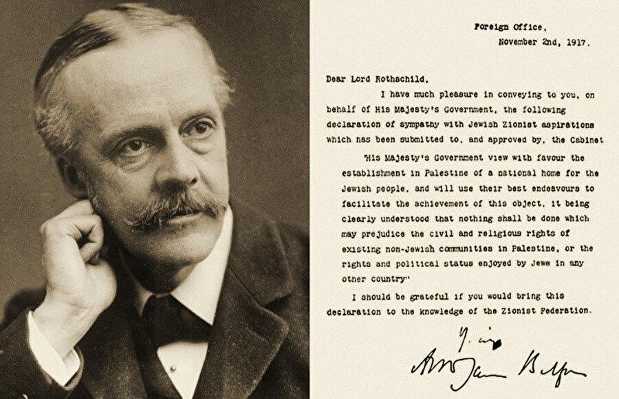 Filistin'de bir Yahudi devleti kurulması yolundaki en büyük dönemeçlerden biri olarak kabul edilen Balfour Deklarasyonu.