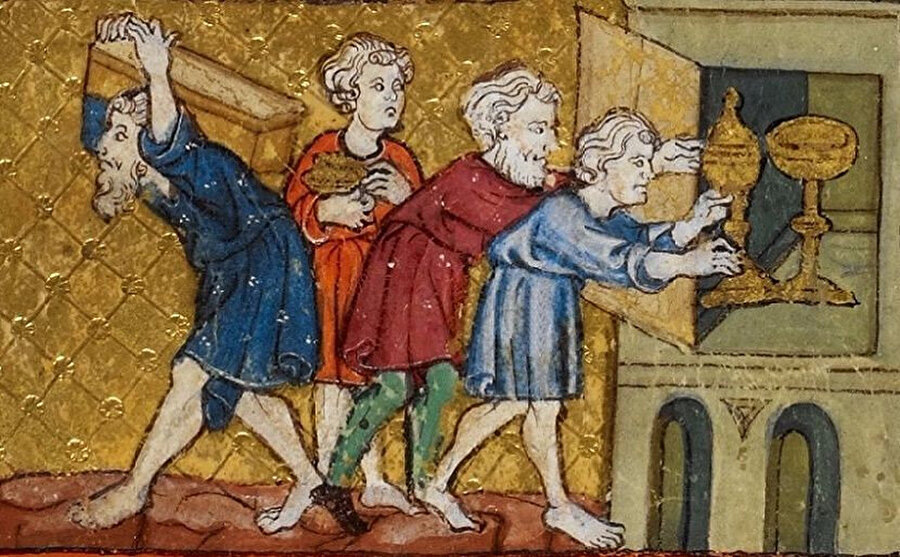 """Mısır'dan kaçan İsrailoğulları altınları yanında götürdü. (""""The Golden Haggadah"""" (İngiliz Kütüphanesinin İbranice el yazmalarından biri. f. 13, 1325–1349. )"""